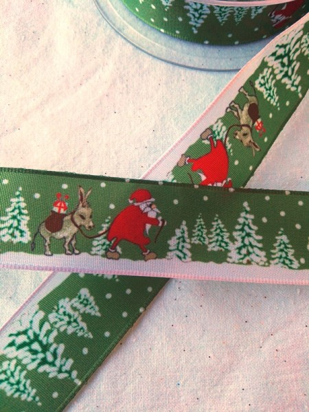 Weihnachtsband Wald, dunkelgrün
