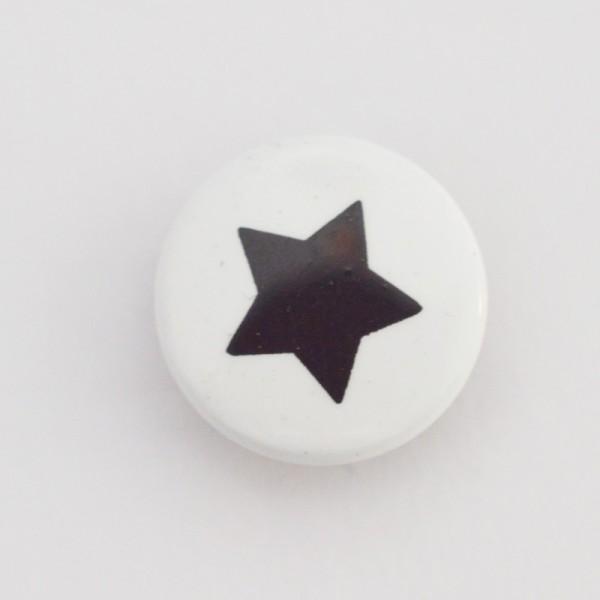Druckknopf, Stern schwarz auf weiß, 10 mm