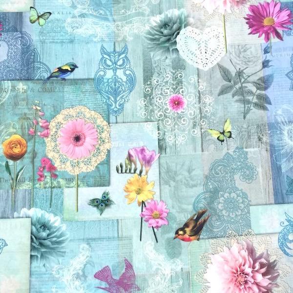 Digitaldruck Vögelchen&Blumen, Dekostoff, *SALE*