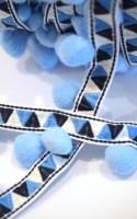 Pommerlborte mit Webband, hellblau
