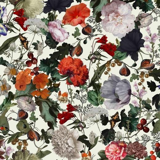 Digitaldruck Blumengarten auf offwhite, Viskose-Jersey