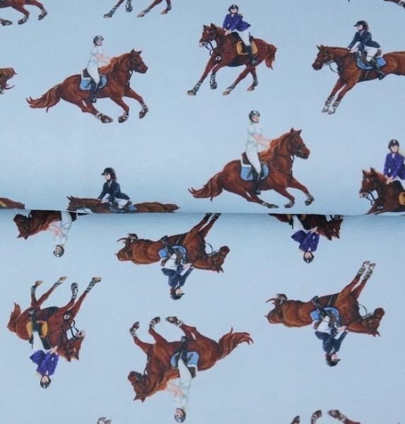 Stenzo Digitaldruck Pferde auf hellblau, Jersey
