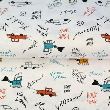 Stenzo Autos&Bagger mit rot auf weiß, Popeline