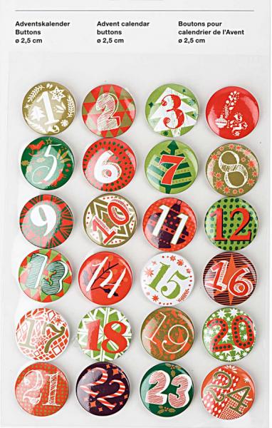 Adventskalender Buttons, rot-grün