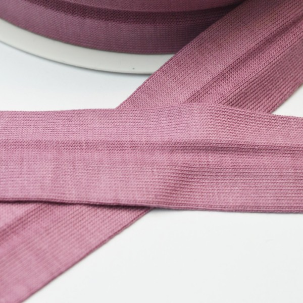 Baumwolljersey-Schrägband mit Elasthan, mauve