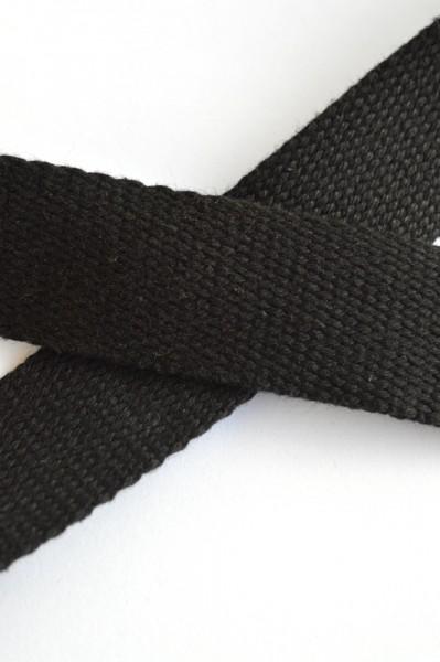 Baumwollgurtband, schwarz, 3 cm