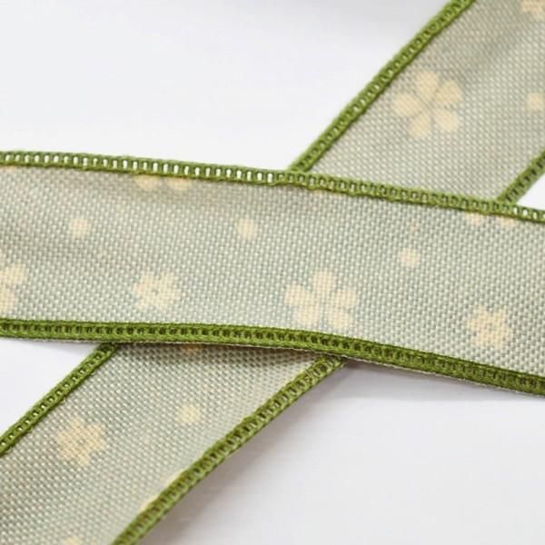Blumen und Punkte, waldgrün, Baumwollband