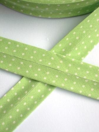 Westfalen Schrägband, hellgrün mit weißen Pünktchen