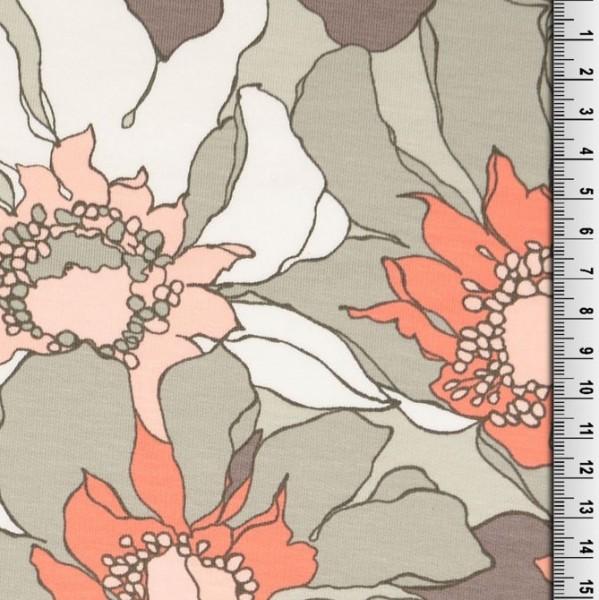 Kuschelsweat Flowers taupe/koralle