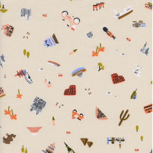 Cotton+Steel, Amalfi Explorer offwhite, Baumwollstoff