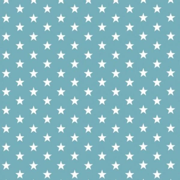 Lili Small Star weiß auf dunklem aqua, Webstoff, waschbar bei 60°