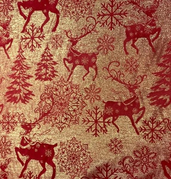 Dekostoff Weihnachten gold/rot, zweiseitig