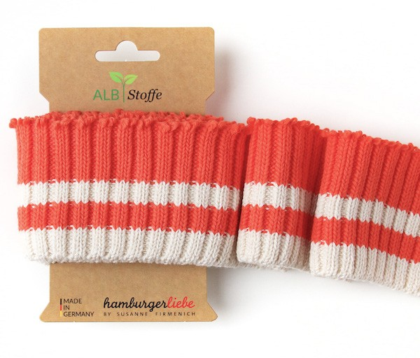 Strickbündchen Cuff Me THIS SUMMER Cozy Stripes orange/offwhite, 110 cm