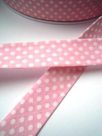 Schrägband, gepunktet, weiß auf dunkles rosé