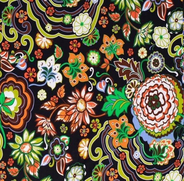 70er Flowers, bunt auf schwarz, Jersey