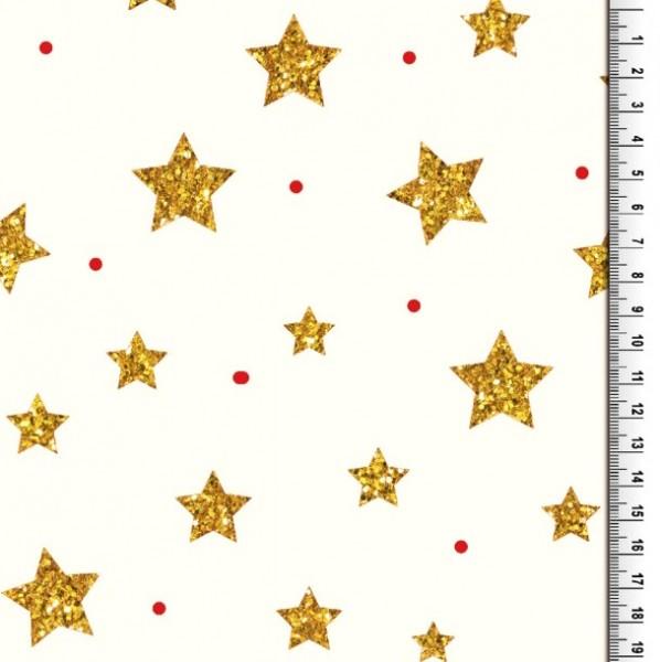 Xmas, Große Sterne gold auf offwhite, Baumwollstoff