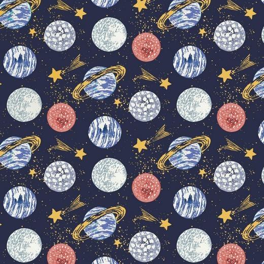 Planeten auf dunkelblau, Baumwoll-Popeline, 60°waschbar