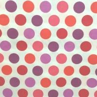 Stenzo Sommerdots pink/lila/orange auf weiß, Popeline