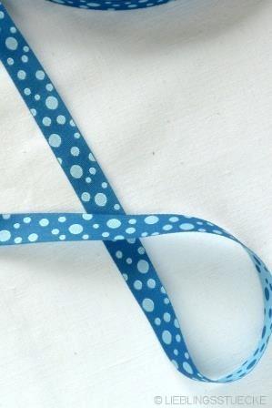 unregelmäßige Punkte, jeansblau-hellblau, Webband beidseitig