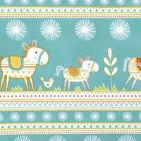 Free Spirit Happi Horses, Horse Stripe türkis, Webstoff