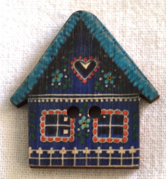 Häuschen, blau , Holzknopf