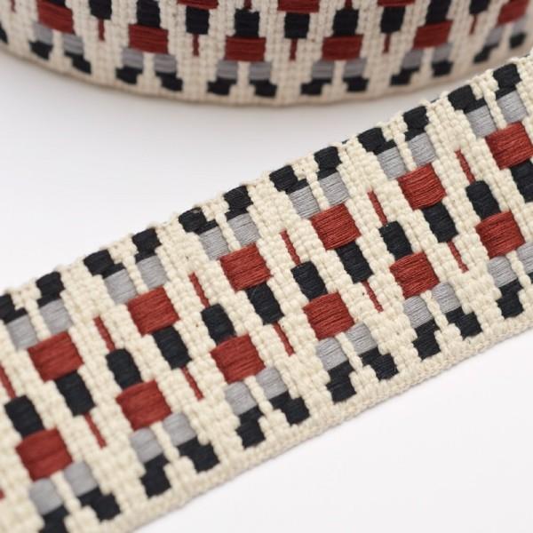 Gurtband, Aztec, creme-grau-weinrot