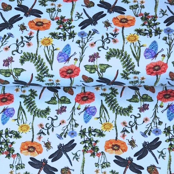 Stenzo Digitaldruck Mohnblumen&Libellen hellblau, Jersey