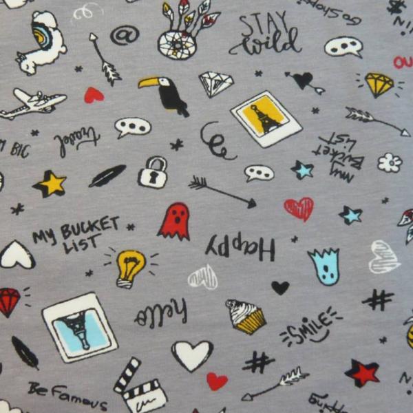 Icons auf grau, Baumwollpopeline