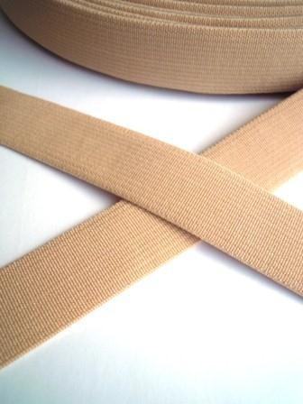 Flachgummi, beige, 20 mm