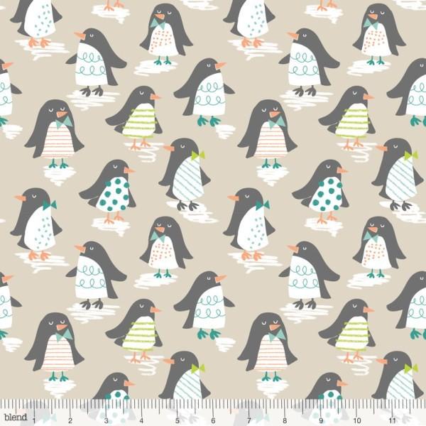 blendfabrics, Snow Day Penguin Parade taupe, Webstoff