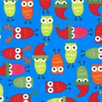 R. Kaufman, Jingle Holiday Owls blue, *SALE*