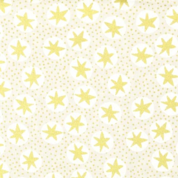 Rudi, Schneeflocken gold auf beige, Baumwollstoff