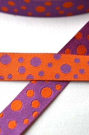 unregelmäßige Punkte, lila-orange, Webband beidseitig