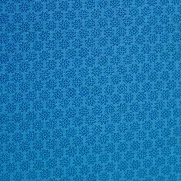 Mira kleine Blüte dunkelblau auf blau, Webstoff