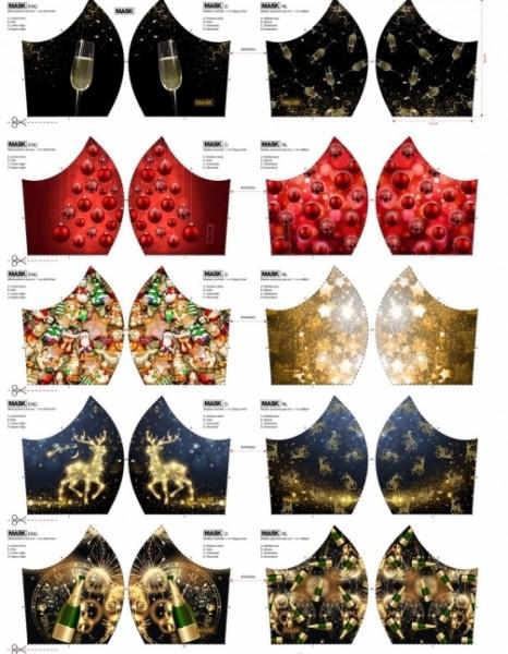 Maskenstoff Digitaldruck Christmas&Sylvester für 10 Masken, Paneel, Baumwollstoff