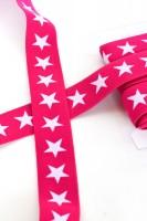 Gummiband breit, Sterne pink