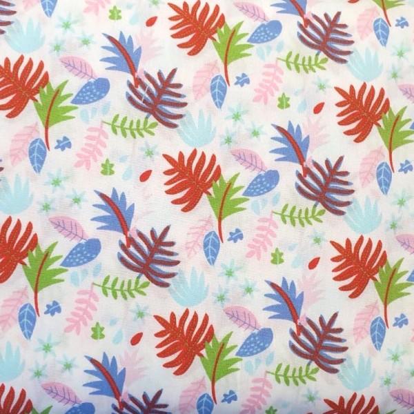 Gina Baumwollpopeline, Blätter pink/blau auf grau
