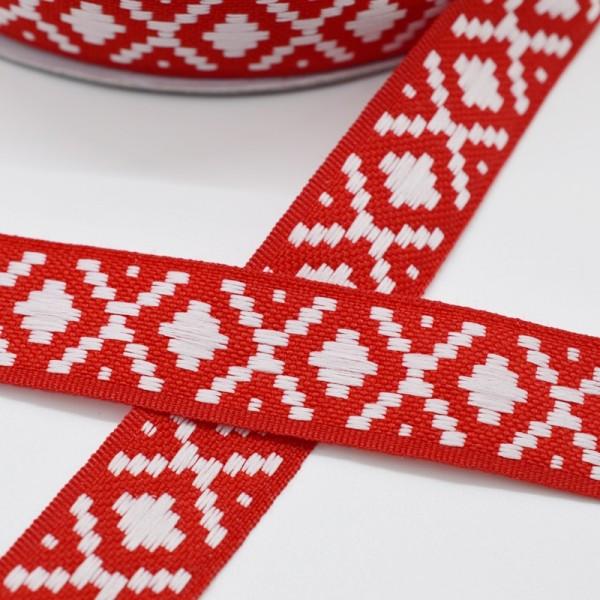 Ethno, rot-weiß, Webband