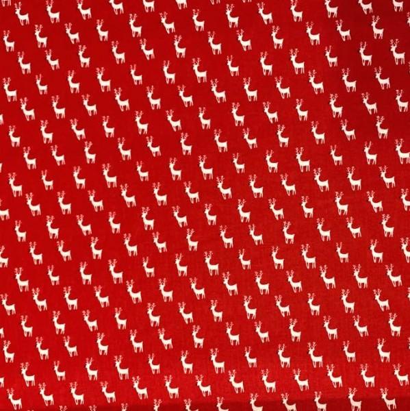Rudi, Hirsch weiß auf rot, Baumwollstoff