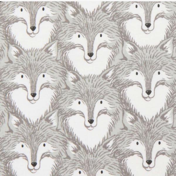Cotton+Steel, Grey with Fox Animal, Wölfe, Webstoff