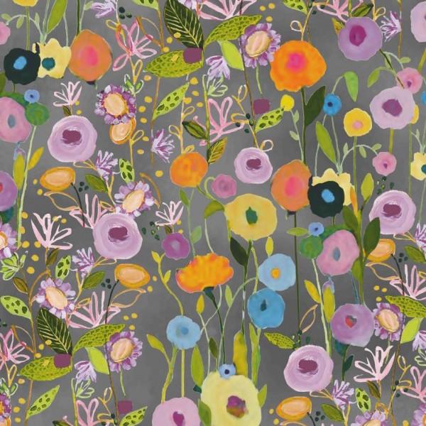 Sweat Digitaldruck, Floral Garden auf grau