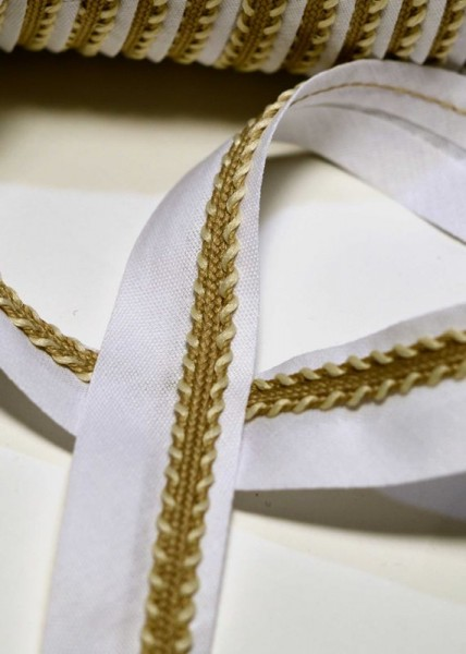 Schrägband mit goldener Borte, weiß