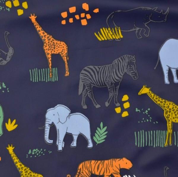 Regenjackenstoff dunkelblau mit Tieren