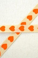 Herzen, orange, Stoffband