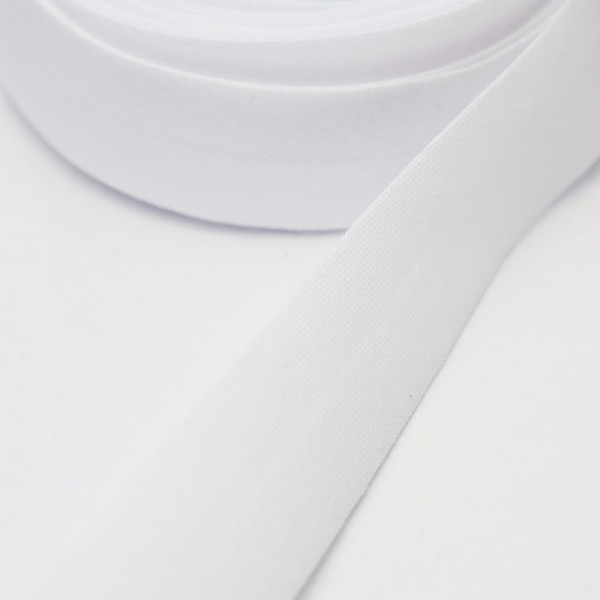 Schrägband, 20 mm, weiß
