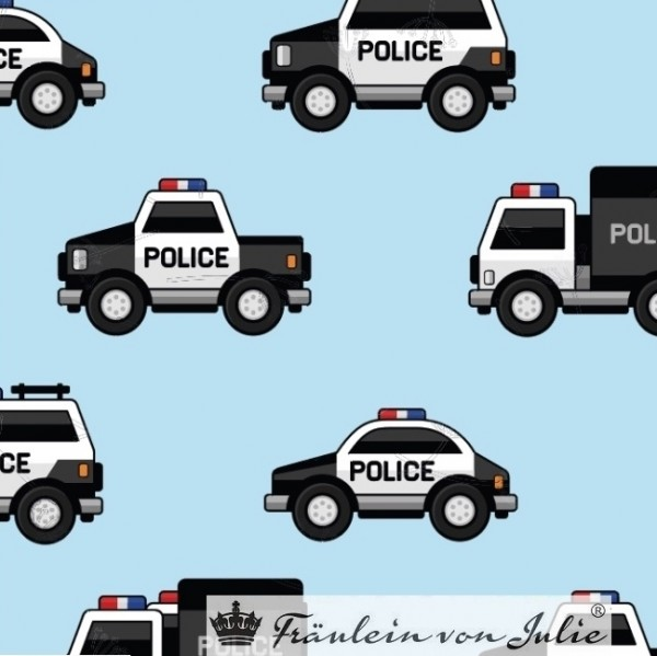 Fräulein von Julie, Polizei! auf hellblau, Jersey