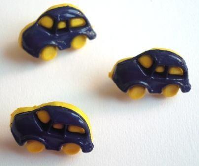 Auto, gelb-blau, Knopf