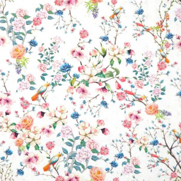 Dekostoff Blütenzweigeauf weiß