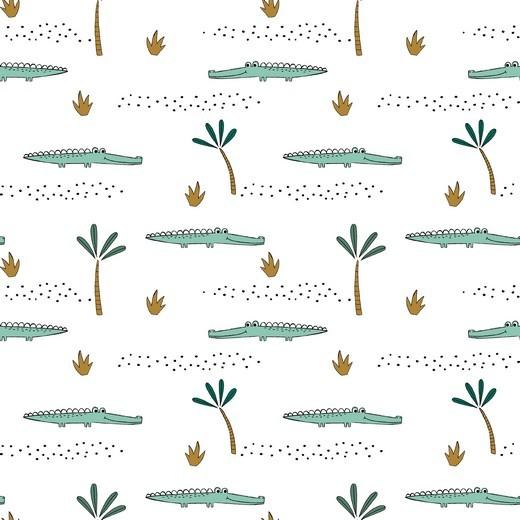 Digitaldruck Krokodile auf weiß, Bio-Jersey