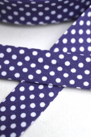 Schrägband, gepunktet, weiß auf violett